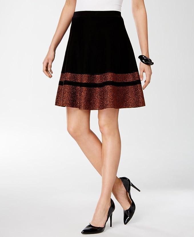 30e84fc129 Grace Elements Womens Knit Metallic A-Line Skirt Black M at Amazon Women's  Clothing store: