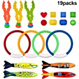 Diving Toys for Pool for Kids - Hamkaw 19 pcs Dive Underwater Toys Swimming Pool Toy Gift Set - Diving Rings - Diving Torpedo - Seaweed - Under Water Treasures