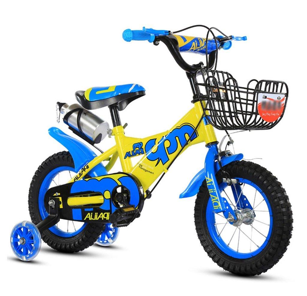 子供の自転車12|14|16|18インチアウトドアの子供ベイビーキッドマウンテンバイクフラッシュトレーニングホイールで2歳から10歳の男の子の女の子の贈り物|アイアンバスケット|水ボトル調整可能な安全な負荷100KG B078GNCS3L 14 inches|青 青 14 inches