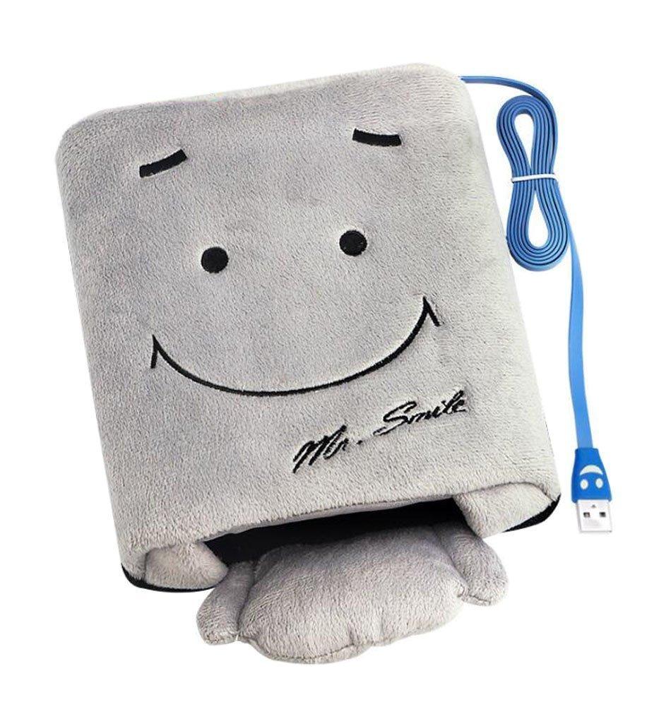 OFKPO Cojín de ratón Sonriente - Sonriente de la Mano de ratón del Calentamiento del USB (Gris)