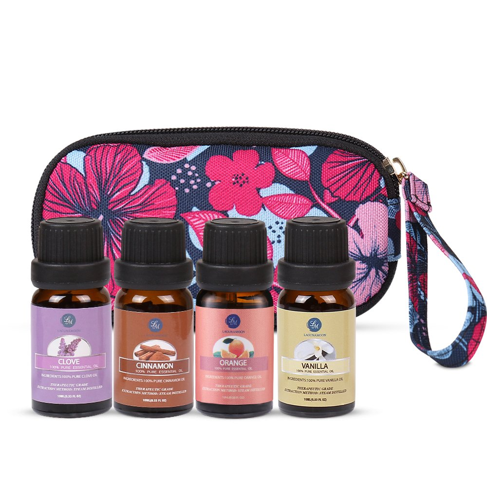 Lagunamoon Essential Oils Set with Travel Bag,Premium Therapeutic Aromatherapy 4 Pcs Oil Kit with Carry Case Holiday Joy Blend Orange Clove Vanilla Cinnamon 10ml