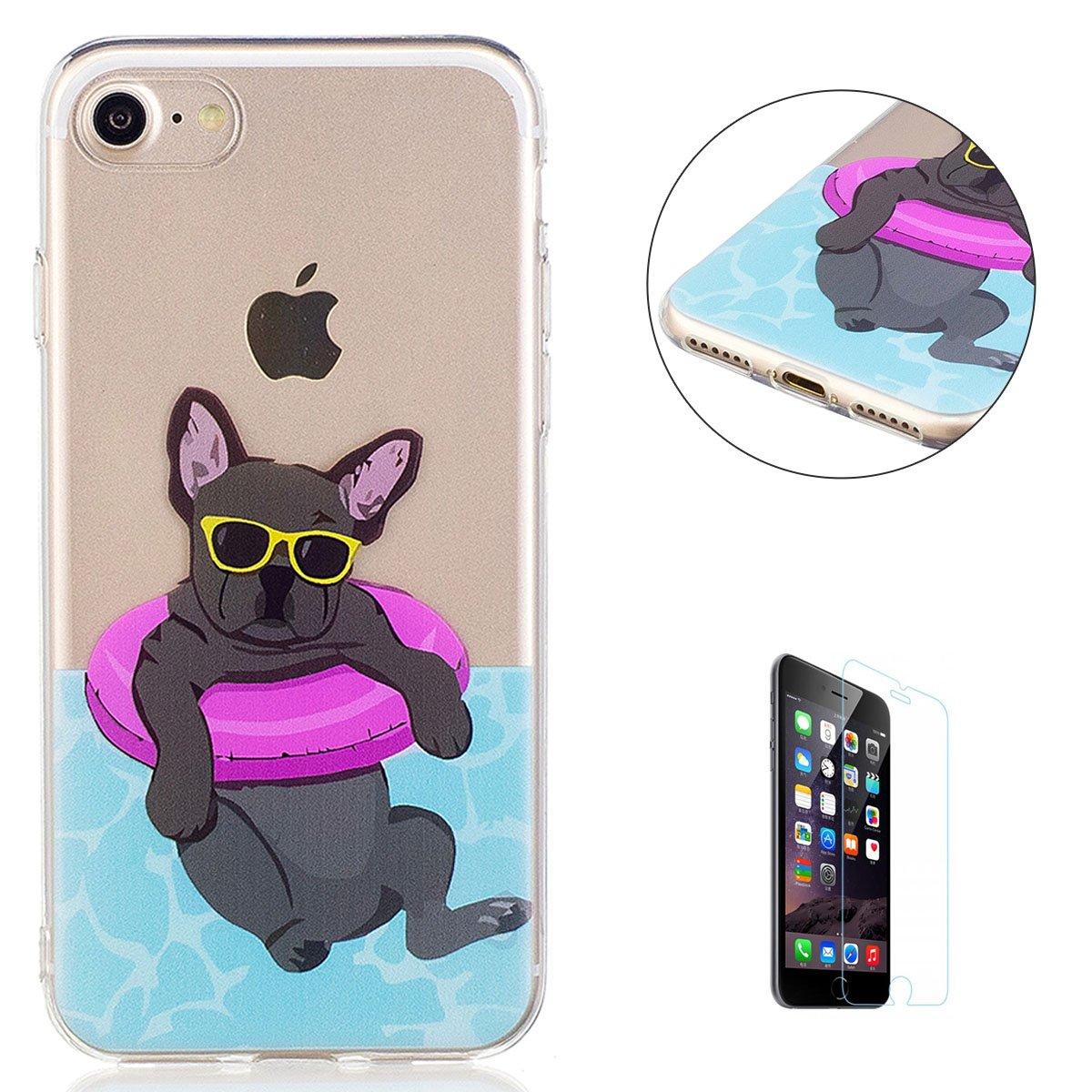 KaseHom Case for iPhone 7/iPhone 8 4.7 Custodia in gel di Silicone Premio(Gratuito Proteggi schermo)Trasparente Flessibile Antiurto Cancellare TPU Colorato Dipinto Modell-Cane bianco CaseHome CHIP7-194546