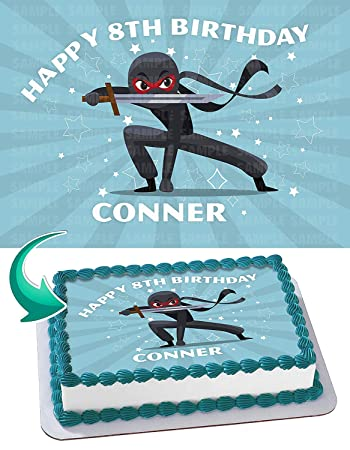 Ninja Warrior Edible Cake Image Topper Personalized Birthday ...