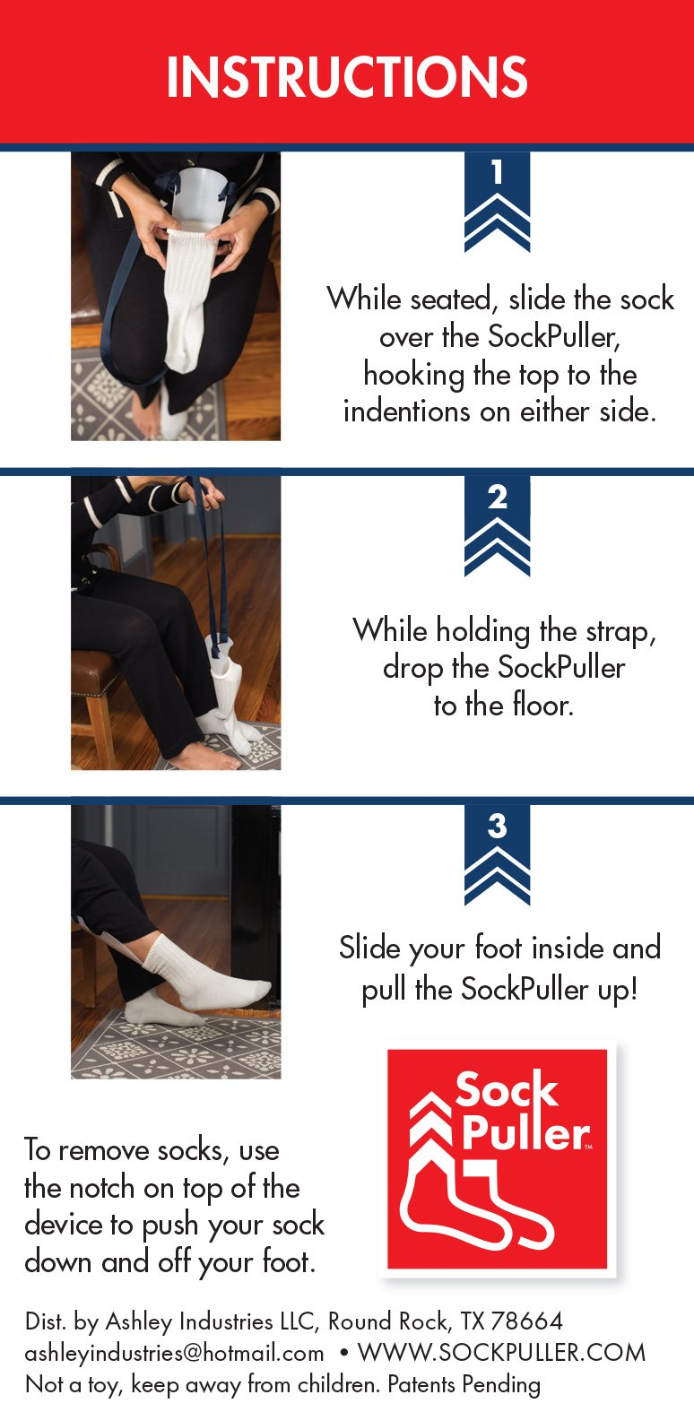 USA Made Sock Puller Dressing Aid