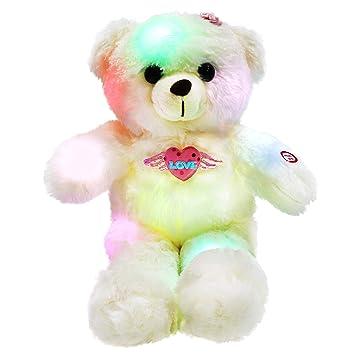 WEWILL - Oso de Peluche de Peluche con luz LED, Adorable y Brillante, Juguete
