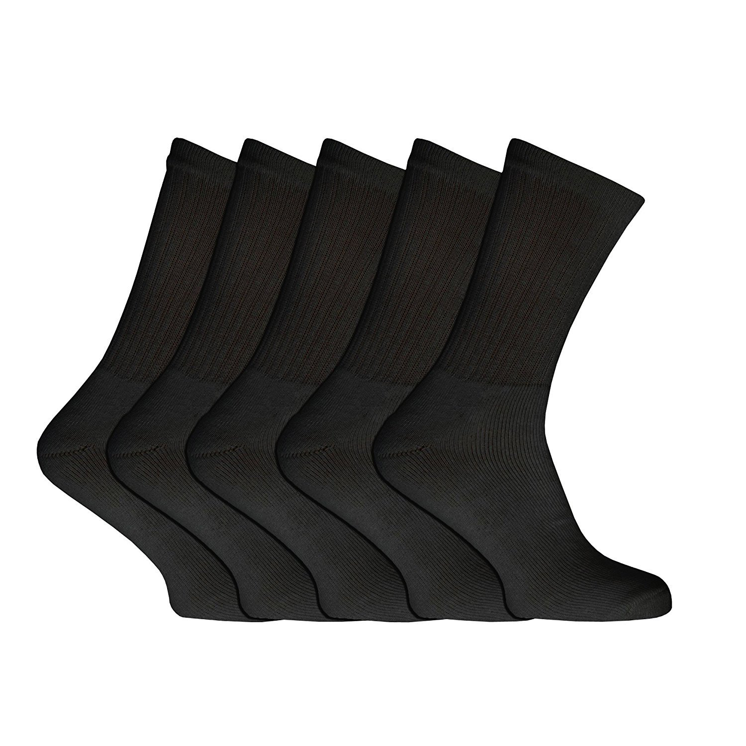 3 Pairs Boys Girls Kids Teens Black Cotton School Gym Sports Calf Ankle Crew Socks Size 3-7