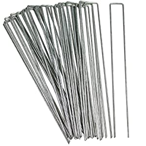 Sunnydaze 25 Pack Galvanized Garden Landscape Staples, Fabric and Sod Fence Ground Stakes, 12 Inch - for Outdoor Gardening, Yard, and Lawn