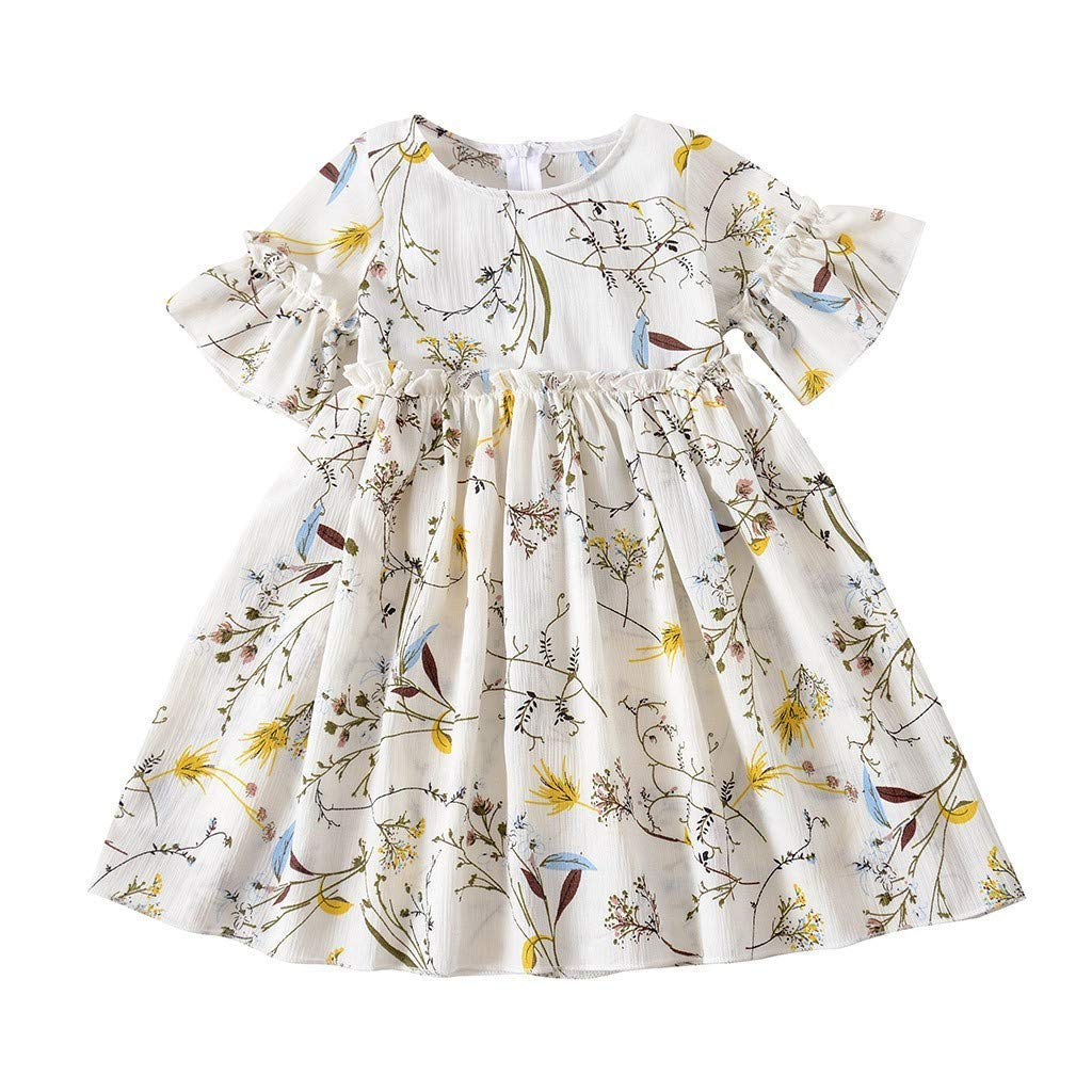 MOGOV Toddler Baby Kid Girl Summer Cute Pleated Floral Print Skirt Princess Dresses Casual Vacation Clothes