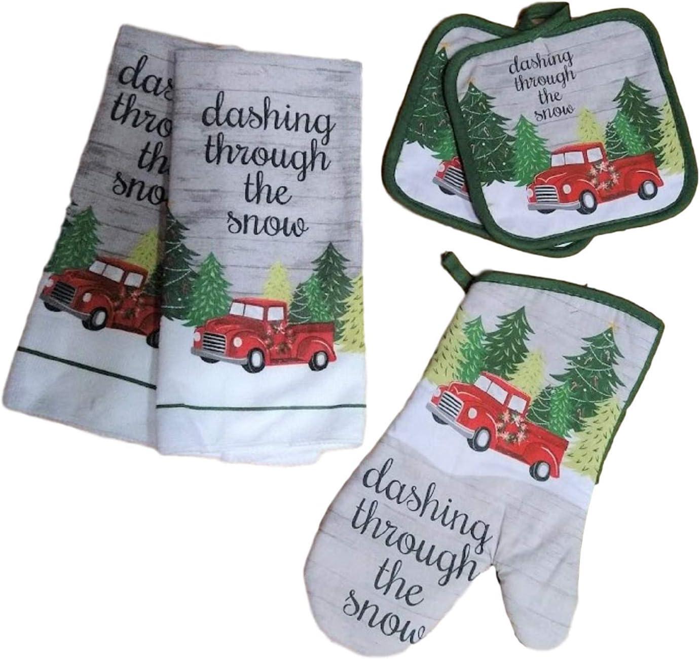 Greenbriar Christmas House Kitchen Linen Set Dashing Through The Snow Christmas Towels 5 Piece Set