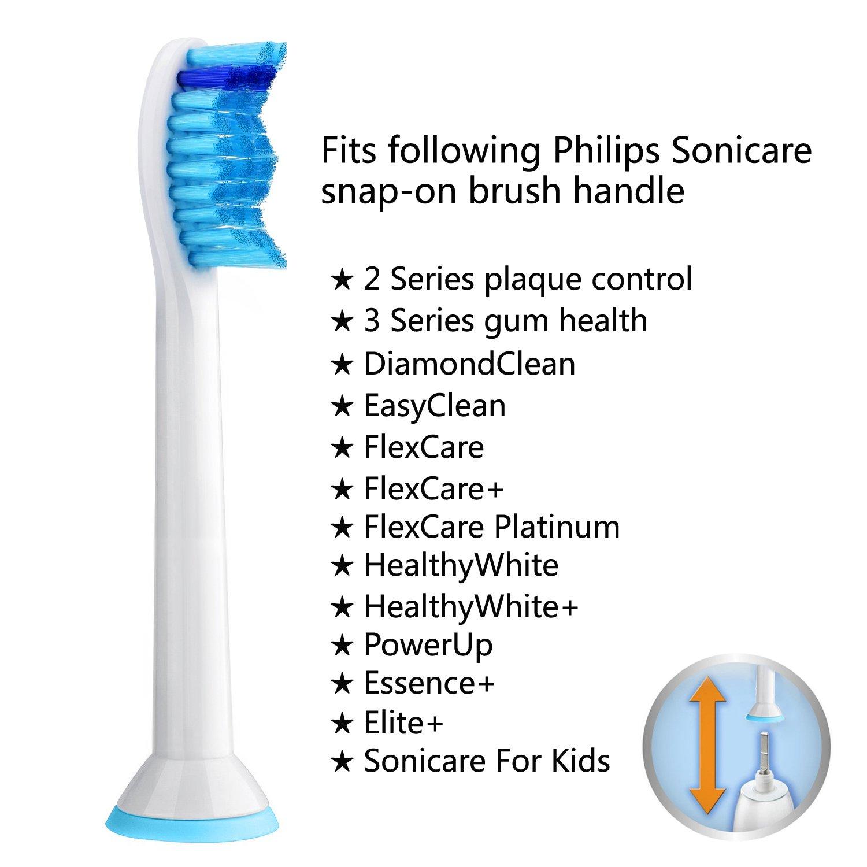Sonicare Cabezales de repuesto para cepillo de dientes eléctrico Philips Sonic, compatible con control de placas, salud de la mamá, diamondClean, EasyClean, ...