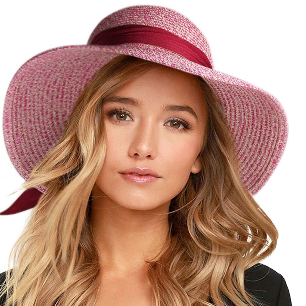 Pink FURTALK Wide Brim Floppy Sun Hat 100% Cotton Packable Summer Beach Hats for Women