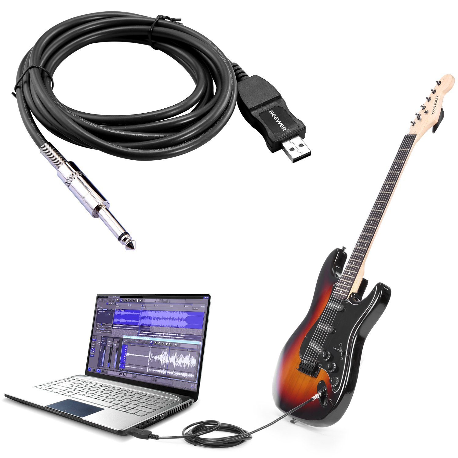 Neewer® Guitarra Bass a USB Cable de enlace de adaptador para PC/Mac Grabación: Amazon.es: Instrumentos musicales