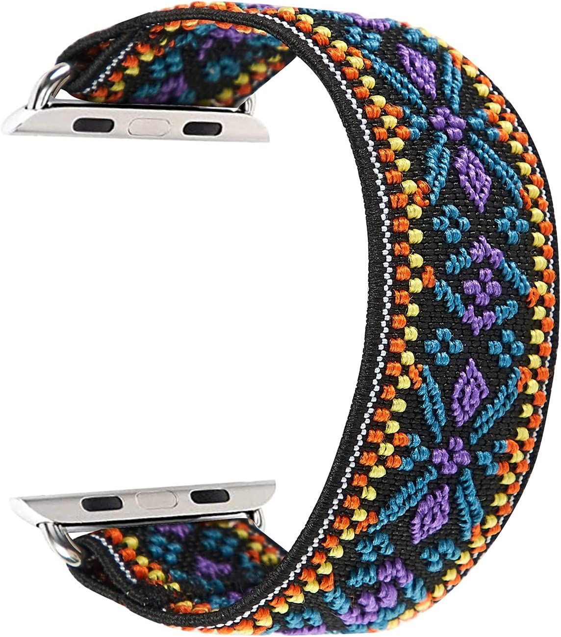 Elastic Band Compatible for Apple Watch, Scrunchie Stretch Wristbands Replacement Bracelet Loop Sport Strap for iWatch Series 1 2 3 4 5, Men Women Girls, Bohemia, 42/44mm, L