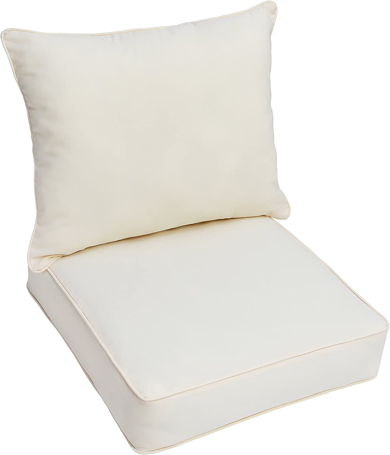 Mozaic AZPC4313 Indoor or Outdoor Deep Seating Cushion & Pillow Set with Corded Edges, 23 in W x 25 in D, Fresco Natural