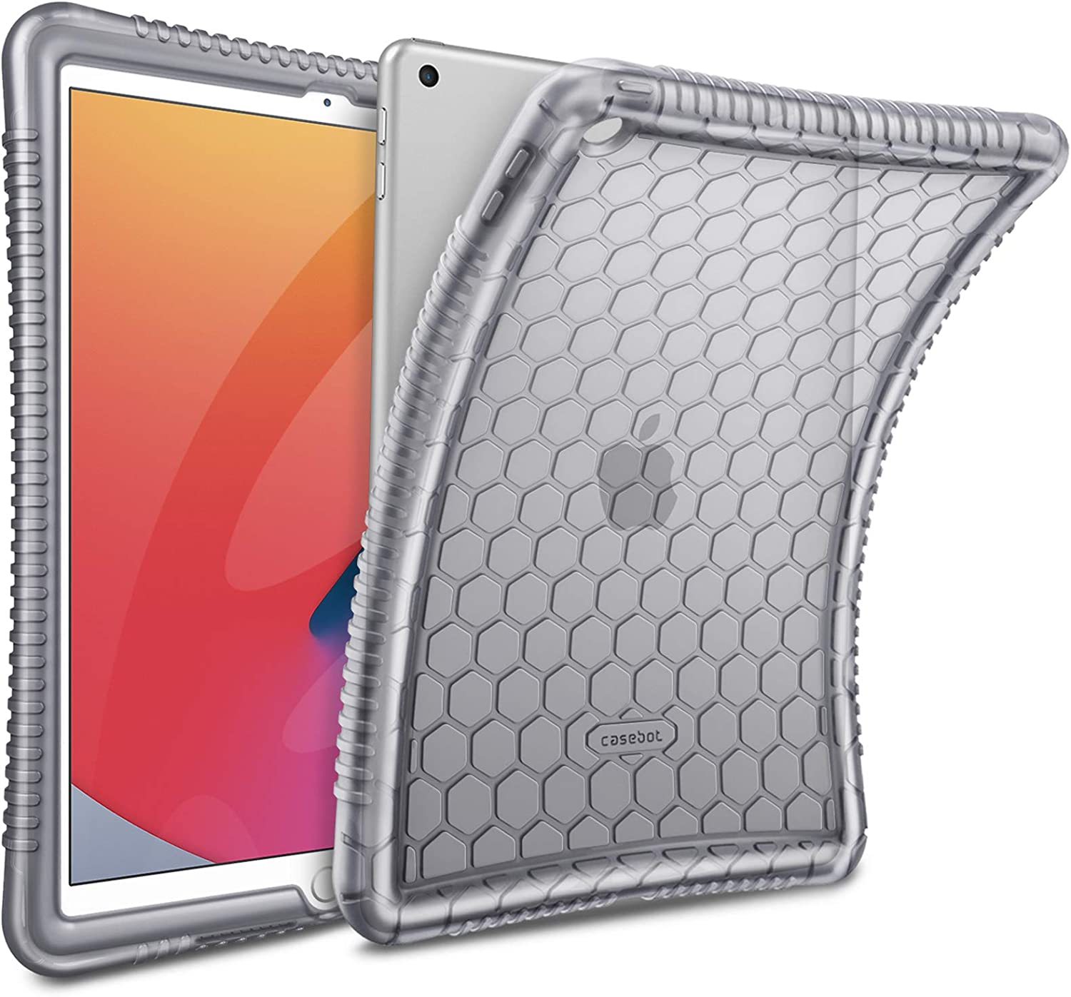 Fintie Case for New iPad 8th Gen (2020) / 7th Generation (2019) 10.2 Inch - [Honey Comb Series] Light Weight Anti Slip Kids Friendly Shock Proof Soft Silicone Protective Cover, Semi-Transparent Smoke