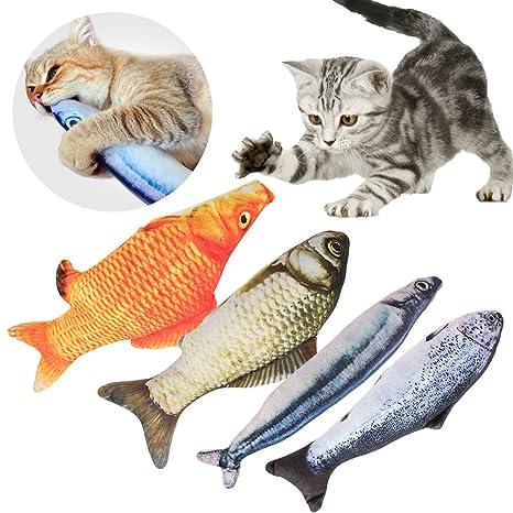 Catnip Juguetes gato Juguetes para Gatos 4 Piezas Pescado Shape Simulación Peluches Muñeca Muñeca Interactiva Mascota