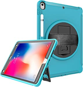 """iPad Air 3 Case 10.5"""" 2019, iPad Pro 10.5 Case 2017 with Screen Protector, Herize Three Layer Full-Body Shockproof Protection Rugged Case with Pencil Holder/Hand Strap for iPad Air 3rd Generation 10.5"""