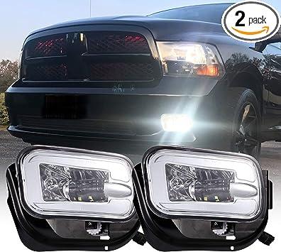 Bracket Replacement NEW Clear Lens For Dodge RAM 1500 2009-2012// Ram 2500 3500 2010-2017 Bumper Fog Lights Pair w//Bulbs