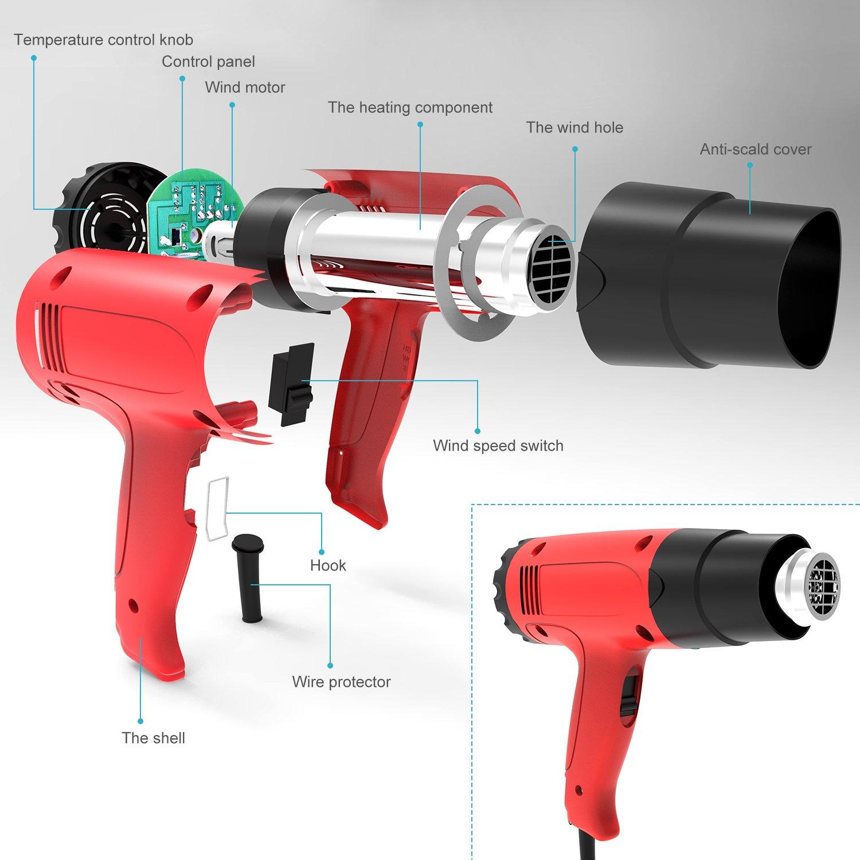 HG6618 50-500 ℃,D/écapeur Thermique /à Temp/érature R/églable 220V HG6618 ETEPON Pistolet /à Air Chaud-1800W