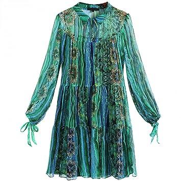 BINGQZ Casual Vestido Vestido de Seda Estampado Mujer ...