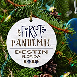 Our First Christmas Together Ornament 2020 Our First Pandemic Ornament Destin Florida FL - Your City Ornament 3