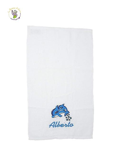Toalla de rizo de algodón color blanco Delfín, con bordado personalizado con nombre 50 x