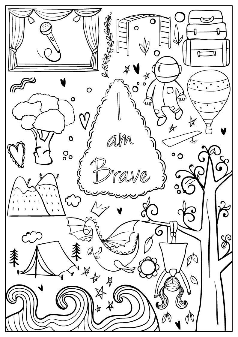 Brave for children - Brave Kids Coloring Pages | 1123x794