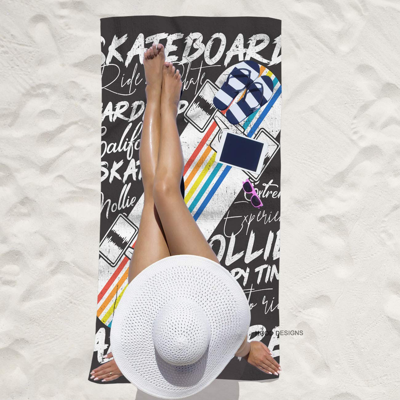HGOD DESIGNS Bath Towel Skateboard,Colorful Skateboard Poster Design Bath Towel Throw Blanket Beach Towel 64 Lx32 W