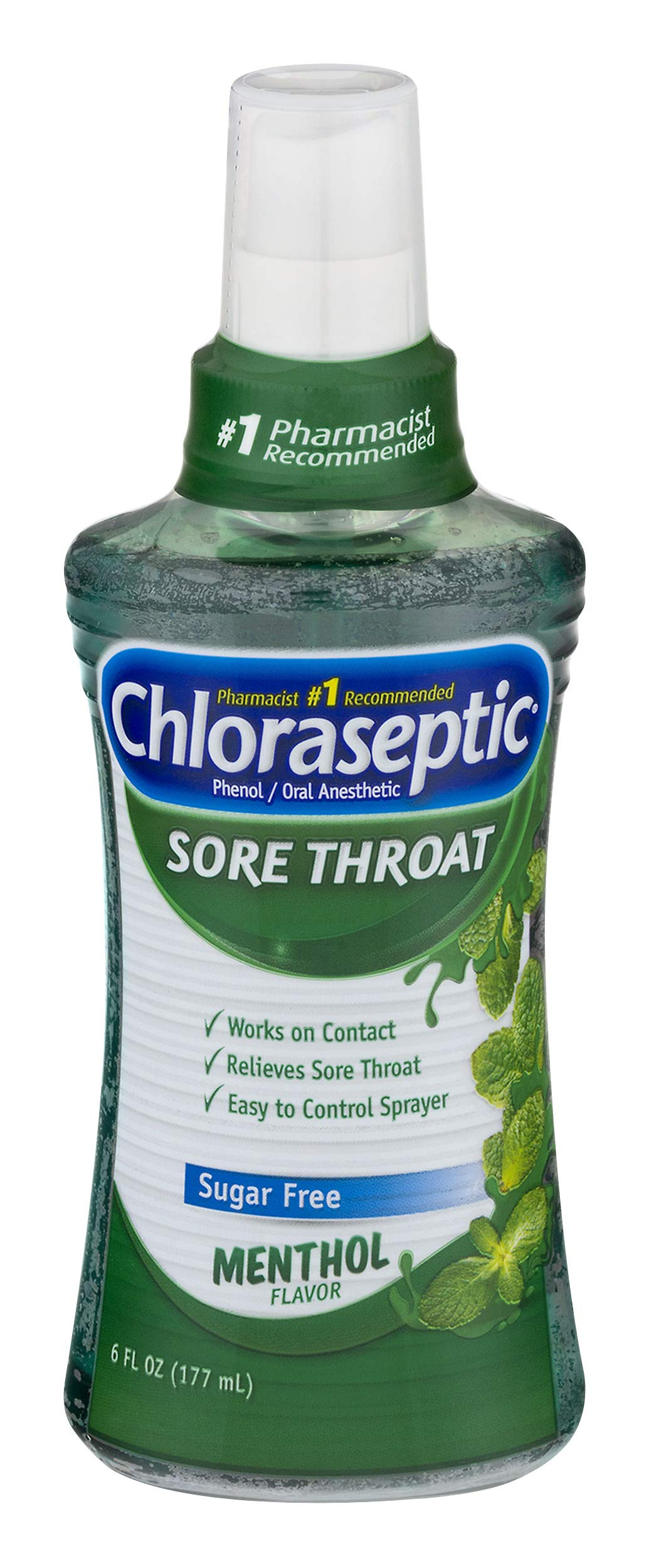 Chloraseptic Sore Throat Spray | Sugar Free Menthol | 6 Ounce | Pack of 3 | #1 Pharmacist Recommended Brand for Sore Throat Medicine
