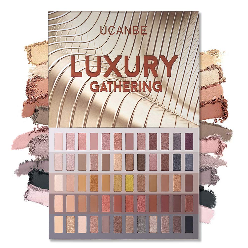 UCANBE 60 Colors Naked Eyeshadow Palette, Natural Nudes Makeup Pallet, Warm Neutral Matte Glitter Shimmer Smokey Eye Shadows Cosmetic Gift Set