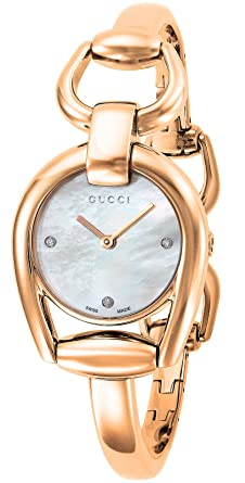 fa7530120d3 Buy Gucci Horsebit Mother of Pearl Dial Ladies Watch YA139508 Online at Low  Prices in India - Amazon.in