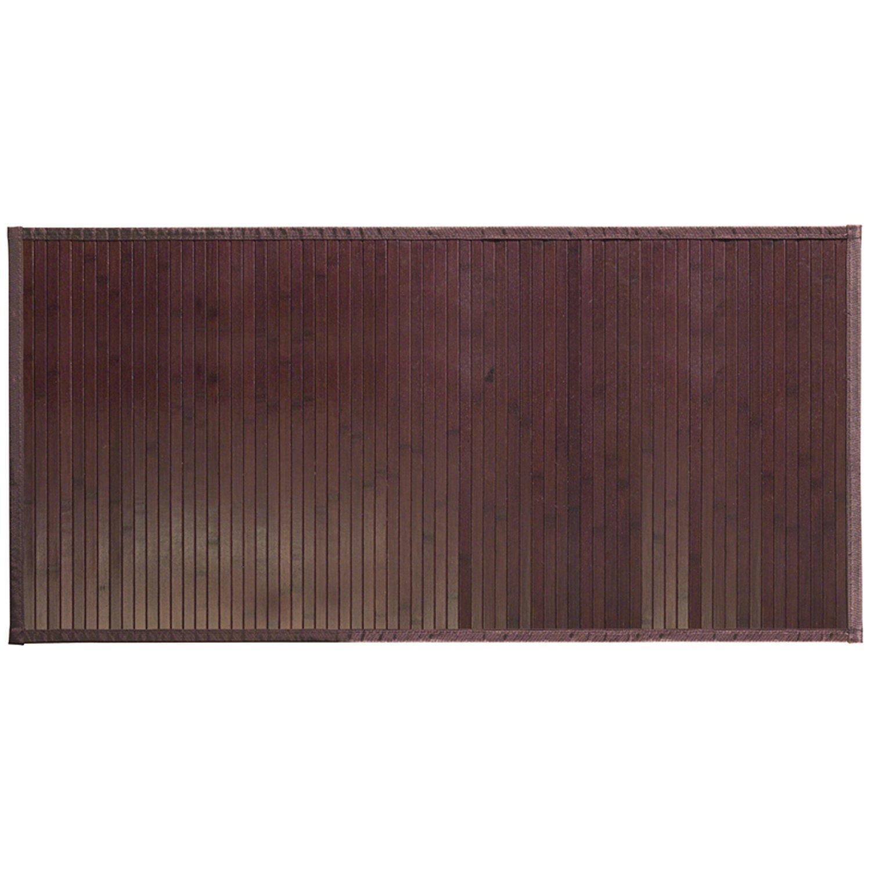 "iDesign Formbu Bamboo Floor Mat Non-Skid, Water-Resistant Runner Rug for Bathroom, Kitchen, Entryway, Hallway, Office, Mudroom, Vanity , 48"" x 24"", Mocha Brown"