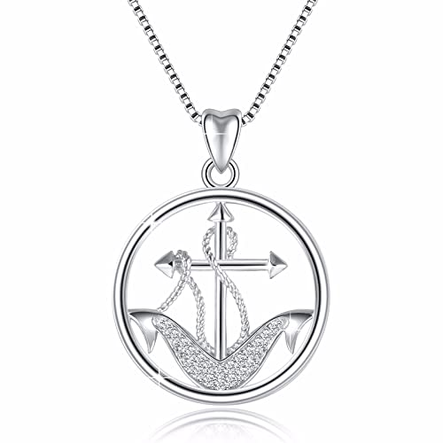 Amazon 925 sterling silver anchor and rope nautical vintage 925 sterling silver anchor and rope nautical vintage pendant necklace box chain 18quot aloadofball