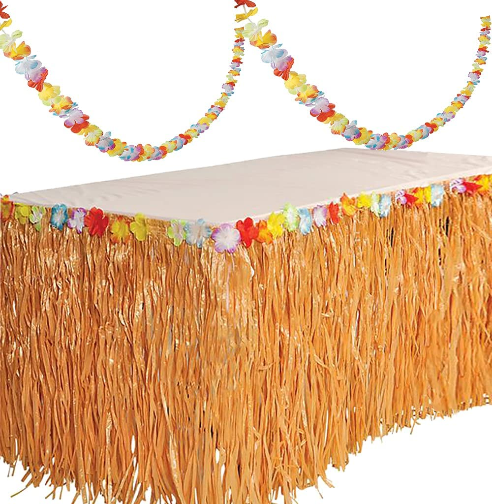 Luau Hawaiian Party Decorations 9 Ft Grass Table Skirt with 9ft Lei Garland Hibiscus - Tropical Beach Tiki Moana Birthday Party Decor Supplies Accessories by 4E's Novelty