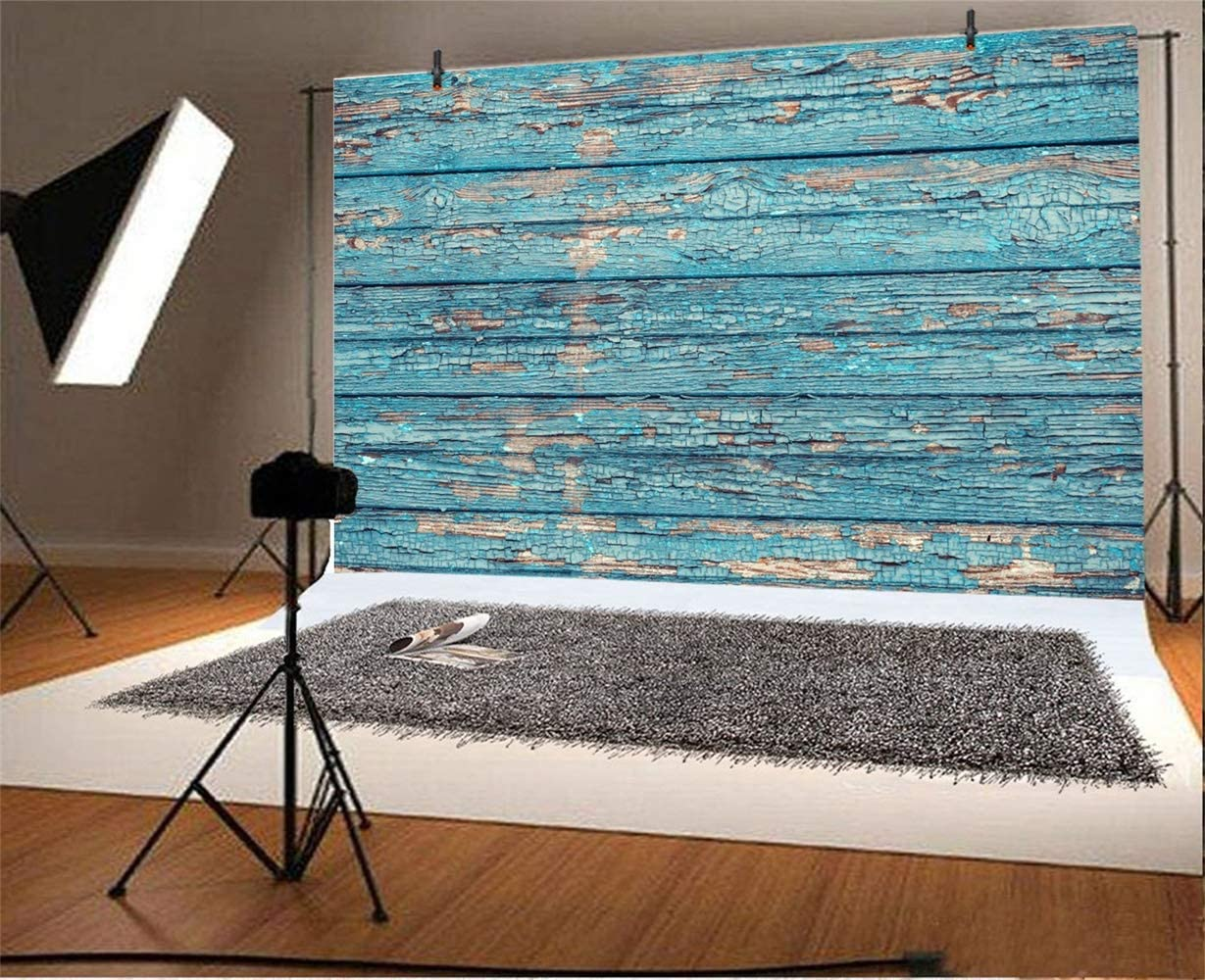 Polyester 10x6.5ft Grunge Peeled Blue Lateral-Cut Wood Texture Plank Photography Background Rustic Weathered Wooden Board Backdrop Children Adult Pets Artistic Portrait Shoot Studio Props