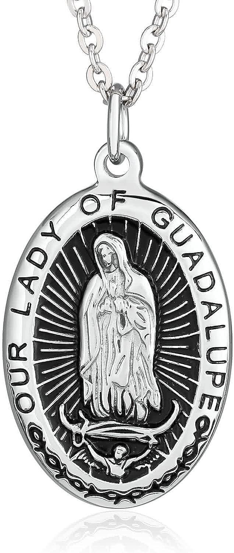 Beydodo Colgante de Mujer Acero Inoxidable Guadalupe Virgen María María Medalla Oval Plata Negro Collar Colgante para Boda