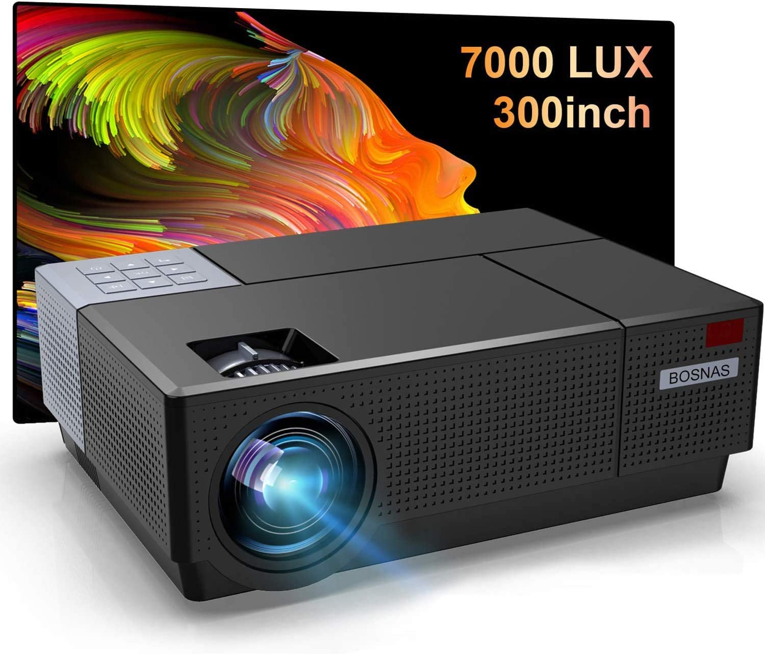 BOSNAS B7 HD Home Projector Support 4K Movie, Native 1920×1080P Video Projector 7500 LUX LED Projector Home Theater, Support 4D Keystone Correction