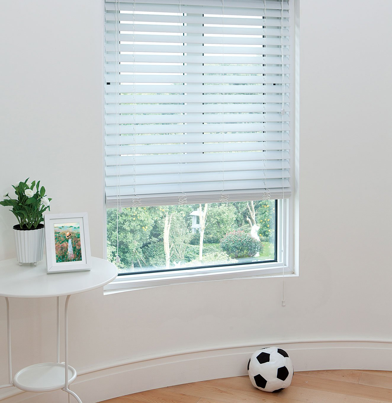 36 inch window blinds - Amazon Com 2 Faux Wood Blinds 48 X 36 Inches In White With Premium Upgraded Crown Valance Fascia Home Kitchen