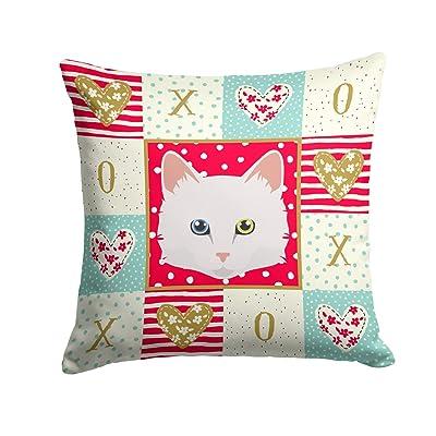 Caroline's Treasures CK5175PW1414 Turkish Angora Cat Love Fabric Decorative Pillow, 14Hx14W, Multicolor : Garden & Outdoor