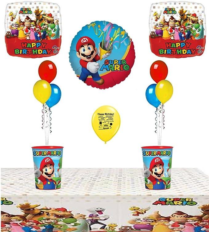 Mario Bros. Suministros para fiesta de cumpleaños y centro de mesa de globos: Amazon.es: Juguetes y juegos
