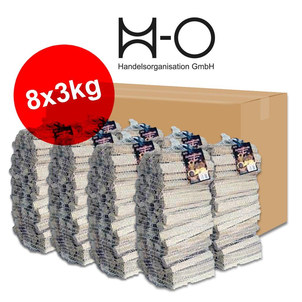 24kg Anzündholz Anfeuerholz Anmachholz Kamin Ofen Weichholz Kiefer Fichte getrocknet in 8 handlichen Säckchen zu je 3kg - versandkostenfrei H-O Handelsorganisation GmbH