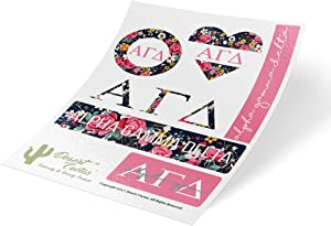 Alpha Gamma Delta Classic Floral Sticker Decal Laptop Water Bottle Car Alpha Gam (Sheet C. Floral)
