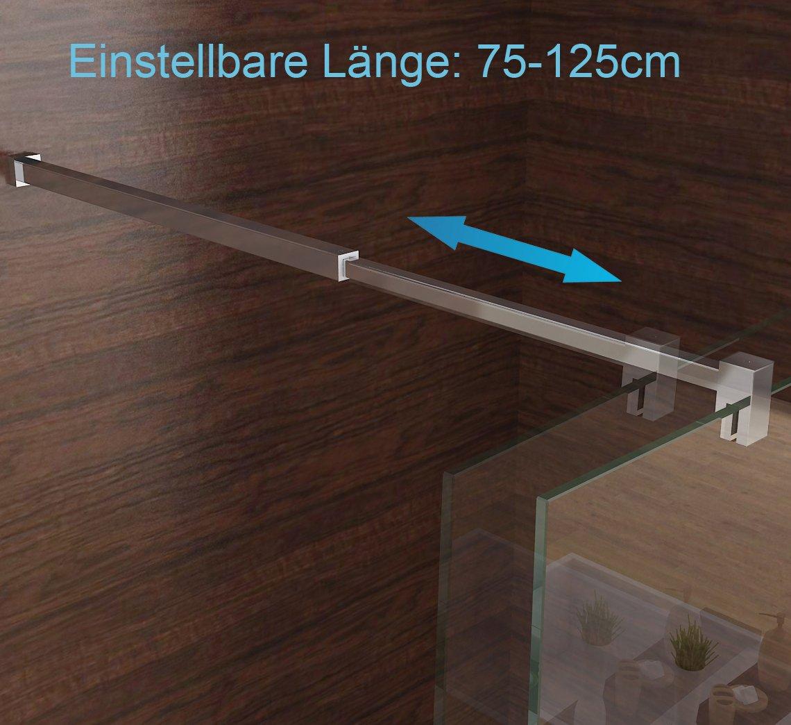 Duschabtrennung walk in Duschwand Seitenwand Dusche 10mm Glas Duschtrennwand 90 x 200 cm