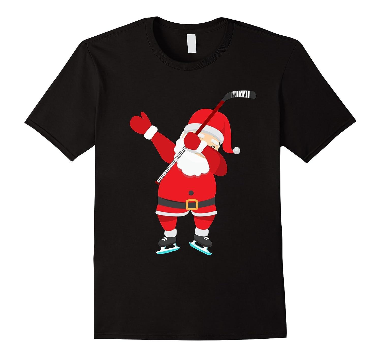Dabbing Hockey Christmas Shirt - Santa Claus Dab T-Shirt-FL