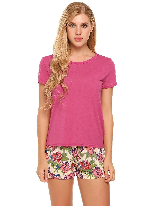 Ekouaer Short Sleeve Pajama Set for Women 2 Piece Sleepwear AMK005748