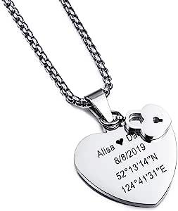 MeMeDIY Collar con Nombre Personalizado Regalo de Grabado Personalizado para Hombres Mujeres Niños Niñas Corazón De Acero Inoxidable Llave Colgante Redondo con Cadena de 3mm de Ancho