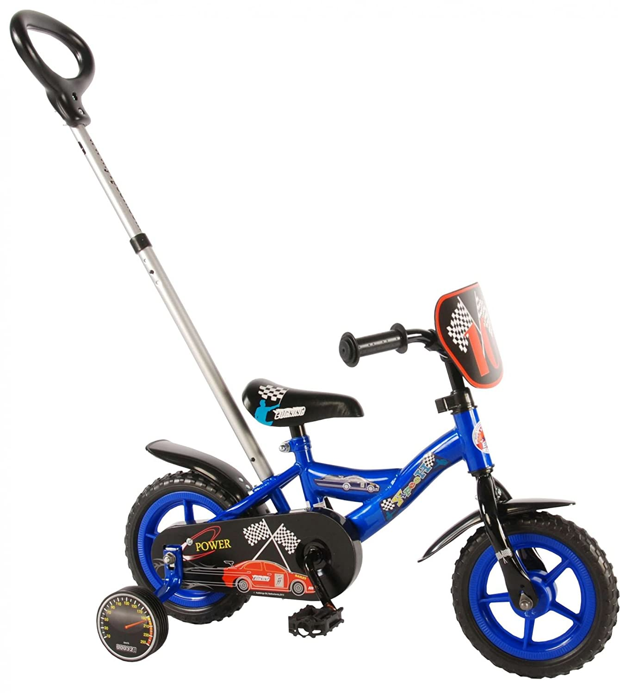 Kinderfahrrad 10 Zoll Formula 1 mit Höhenverstellbaren Schubstange Vorne und Hinten Fahren Blau Schwarz 85% zusammengebaut