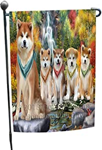Scenic Waterfall Akita Dogs Garden Flag GFLG49487