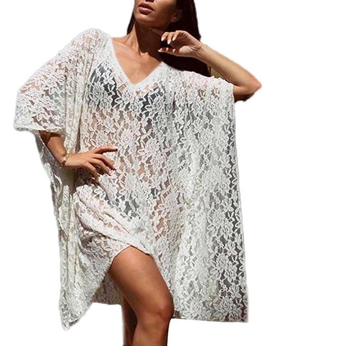 Yannerr Mujer Encaje Largo Baño Bikini Delantal Semi Transparente Casual Manga Larga Básica Inferior Camiseta Tops