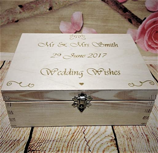 Wedding Guest Book Box 40 X Wooden Heart Wishes Bride And Groom
